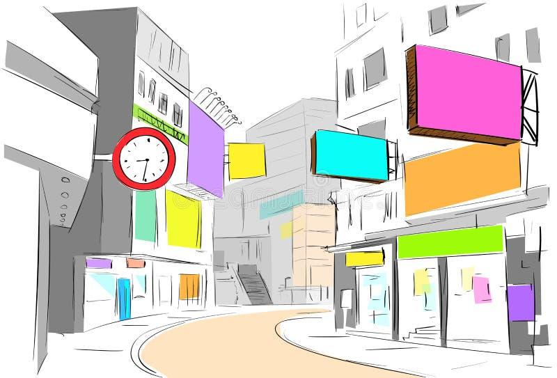 Η άποψη κεντρικών πόλεων οδών σύρει τα καταστήματα σκίτσων ζωηρόχρωμα ελεύθερη απεικόνιση δικαιώματος