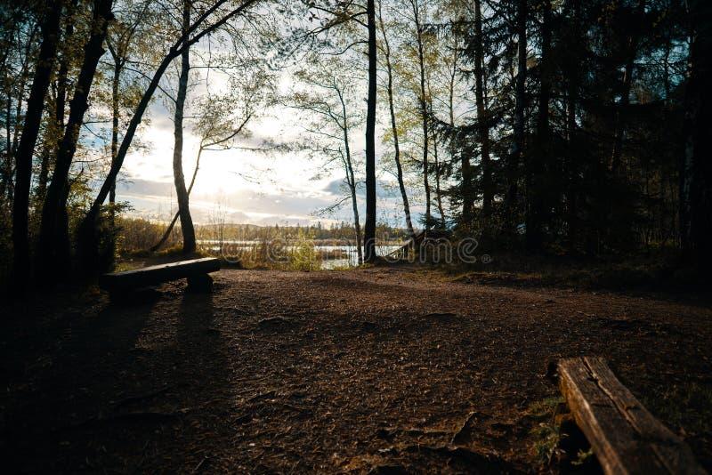 Η άποψη πέρα από μια ηρεμία δένει στο Baden Wuerttemberg Γερμανία κακό Wurzach στο ηλιοβασίλεμα με τους πάγκους στοκ εικόνα