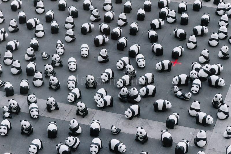 Η άποψη πολλών γλυπτών panda που άνωθεν τοποθετεί στο πάτωμα είναι μια έκθεση τέχνης στη Μπανγκόκ, Ταϊλάνδη στοκ φωτογραφία με δικαίωμα ελεύθερης χρήσης