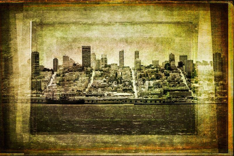 Η άποψη του ορίζοντα του Σαν Φρανσίσκο στον τρύγο φιλτράρισε το κατασκευασμένο ύφος στοκ εικόνες