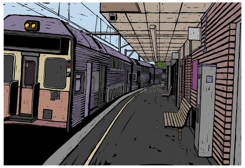 Η άποψη του σταθμού τρένου ελεύθερη απεικόνιση δικαιώματος