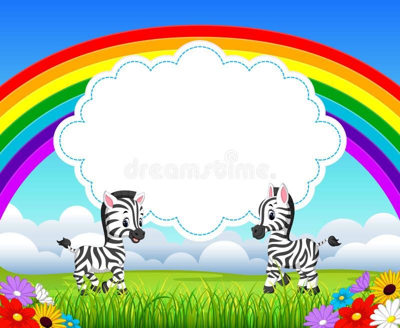 Η άποψη φύσης με το κενό διάστημα πινάκων σύννεφων και ζέβρα ομιλία μωρών μπροστά από το ελεύθερη απεικόνιση δικαιώματος
