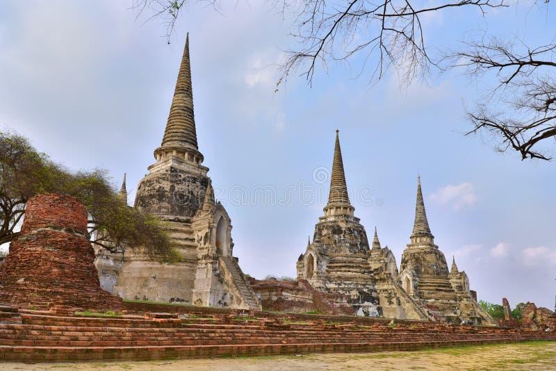 Η άποψη Wat Phra Sri Sanphet βρίσκεται στο ιστορικό πάρκο Ayutthaya στην Ταϊλάνδη στοκ εικόνα