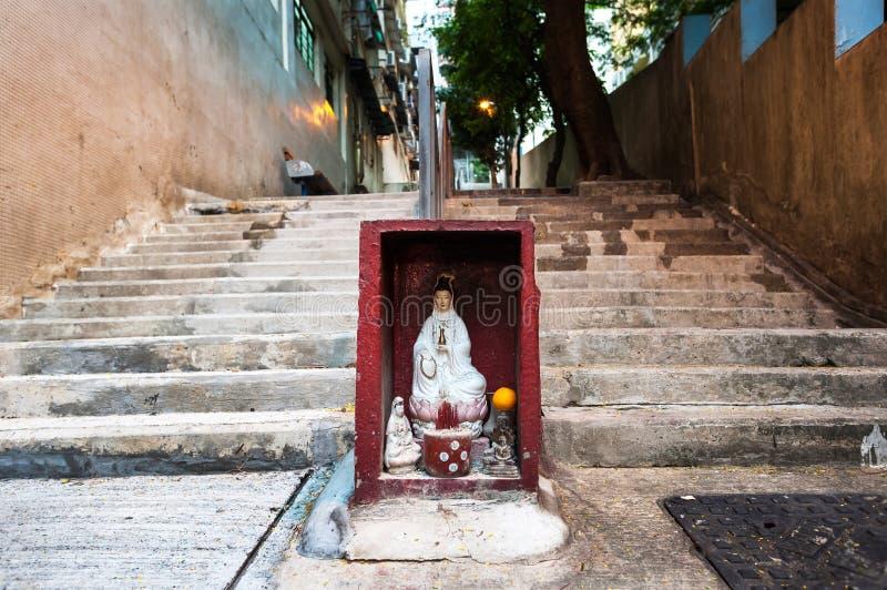 Η λάρνακα οδών Χονγκ Κονγκ που περιέχει το άγαλμα Guanyin στοκ φωτογραφία με δικαίωμα ελεύθερης χρήσης