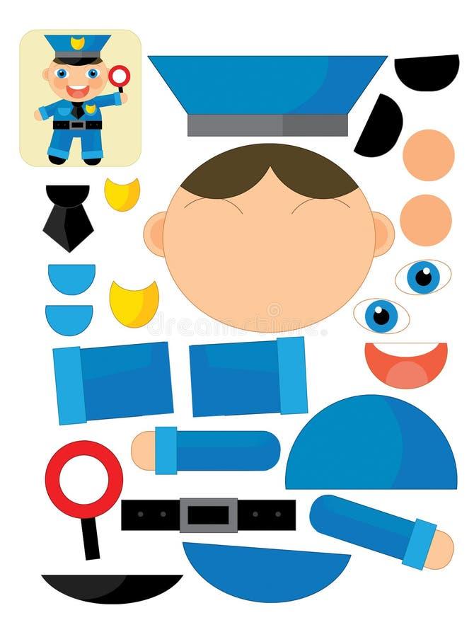 Η άσκηση κινούμενων σχεδίων με το ψαλίδι για - αστυνομικός ελεύθερη απεικόνιση δικαιώματος