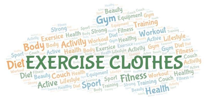 Η άσκηση ντύνει το σύννεφο λέξης διανυσματική απεικόνιση