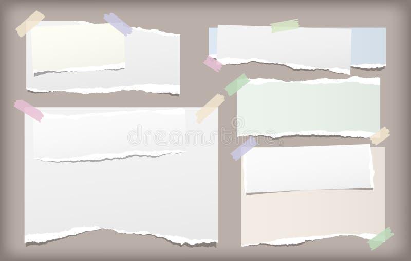 Η άσπρη και ζωηρόχρωμη σημείωση, λουρίδες εγγράφου σημειωματάριων με τις σχισμένες άκρες κόλλησε με την κολλώδη ταινία στο καφετί διανυσματική απεικόνιση