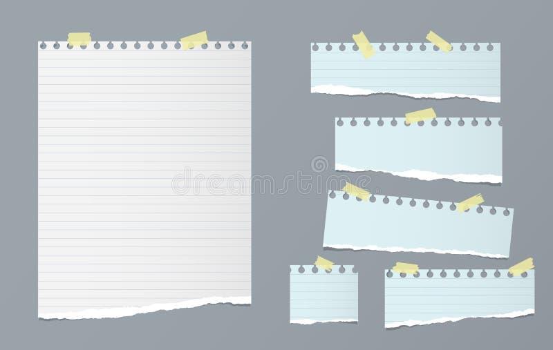 Η άσπρη και μπλε σημείωση, λουρίδες εγγράφου σημειωματάριων με τις σχισμένες άκρες κόλλησε με την κίτρινη κολλώδη ταινία στο μπλε ελεύθερη απεικόνιση δικαιώματος