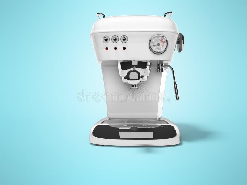 Η άσπρη μηχανή καφέ μερίδας με τη δεξαμενή νερού τρισδιάστατη δίνει την απεικόνιση στο μπλε υπόβαθρο με τη σκιά απεικόνιση αποθεμάτων