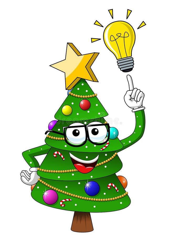 Η άσπρη σημαία κινούμενων σχεδίων μασκότ χαρακτήρα χριστουγεννιάτικων δέντρων isolatedChristmas τριαινών διαβόλων κινούμενων σχεδ διανυσματική απεικόνιση