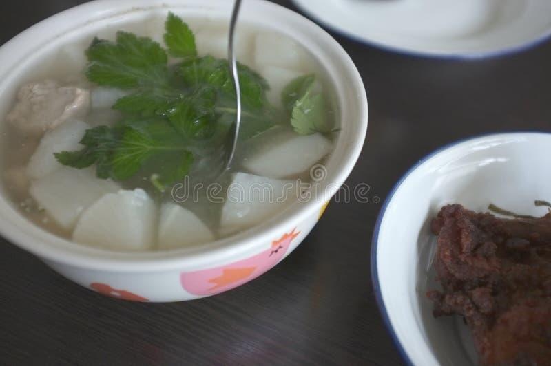 Η άσπρη σούπα ραδικιών με τις εφεδρείες χοιρινού κρέατος σχίζει στοκ φωτογραφίες με δικαίωμα ελεύθερης χρήσης
