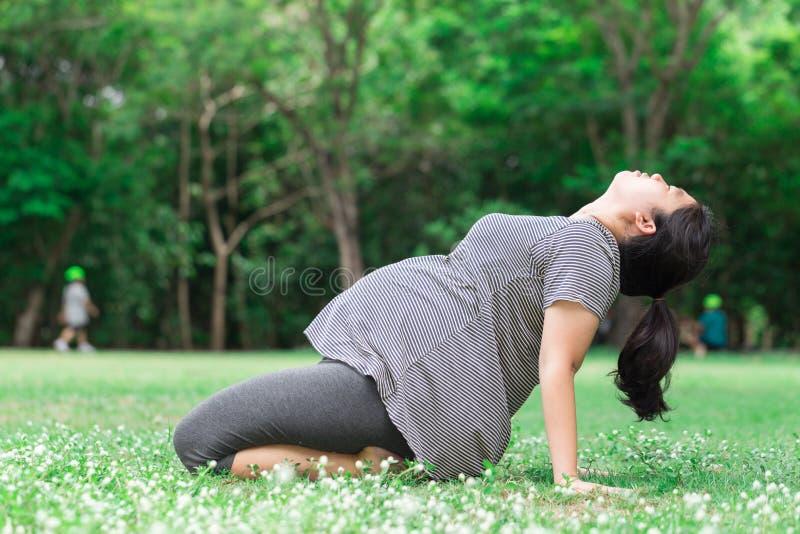 Η έγκυος γυναίκα επιλύει στον πράσινο κήπο στοκ φωτογραφία με δικαίωμα ελεύθερης χρήσης
