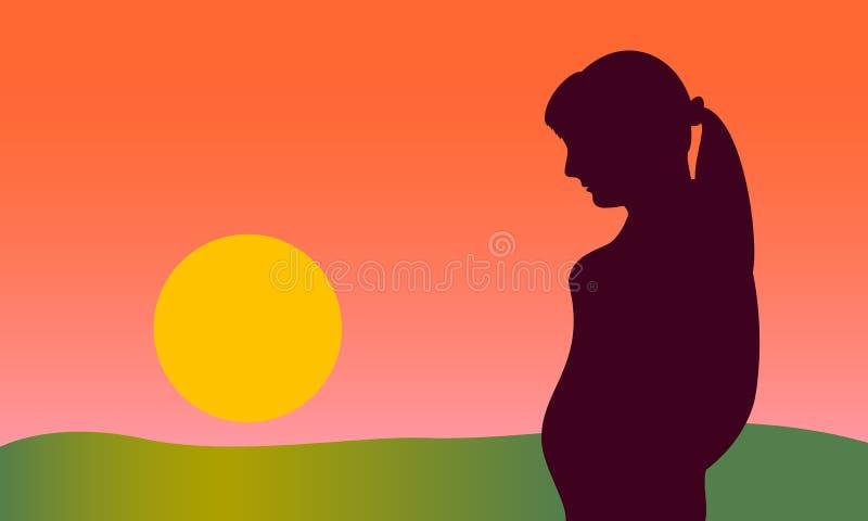 η έγκυος γυναίκα συναντά την αυγή, αρχή της νέας ζωής, αγάπη του παιδιού διανυσματική απεικόνιση