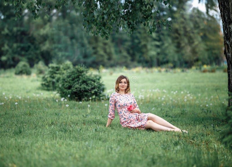 Η έγκυος γυναίκα inpink ντύνει τη συνεδρίαση στη χλόη και σχετικά με την πρόσκρουση ενώ η εκμετάλλευση ρόδινη αυξήθηκε αναμονή κο στοκ φωτογραφίες με δικαίωμα ελεύθερης χρήσης