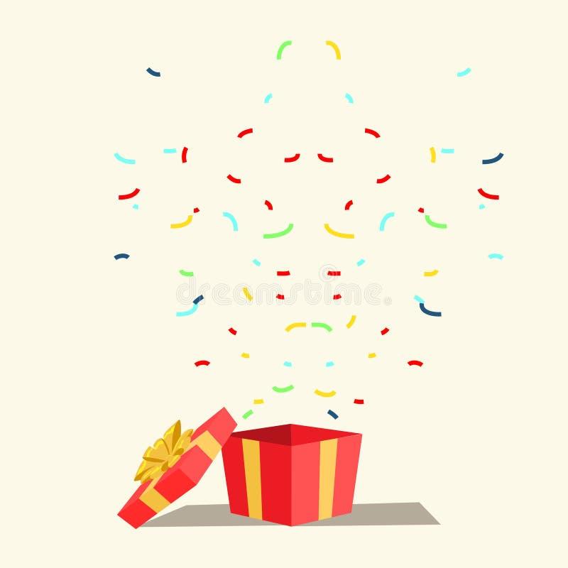 Η έκπληξη, δώρο, παρουσιάζει την επίπεδη διανυσματική απεικόνιση διανυσματική απεικόνιση