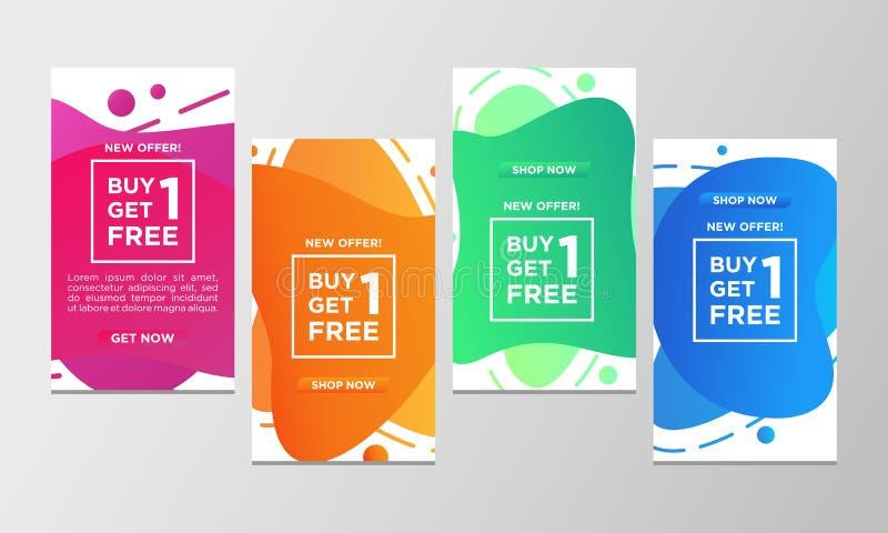 Η έκπτωση δελτίων αγοράζει το ένα παίρνει ένα ελεύθερο σύνολο εμβλημάτων πώλησης Σύγχρονη υγρή ζωηρόχρωμη ειδική προσφορά προτύπω απεικόνιση αποθεμάτων
