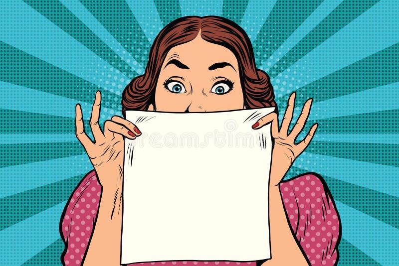 Η έκπληκτη όμορφη αναδρομική γυναίκα, τακτοποιεί το άσπρο φύλλο του εγγράφου διανυσματική απεικόνιση