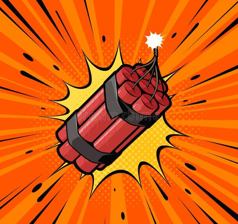 Η έκρηξη βομβών δυναμίτη με το κάψιμο του φυτιλιού πυροδοτεί Αναδρομικό λαϊκό ύφος τέχνης Κωμική διανυσματική απεικόνιση κινούμεν διανυσματική απεικόνιση