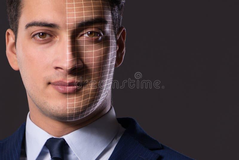 Η έννοια αναγνώρισης προσώπου με το πορτρέτο επιχειρηματιών στοκ εικόνα με δικαίωμα ελεύθερης χρήσης