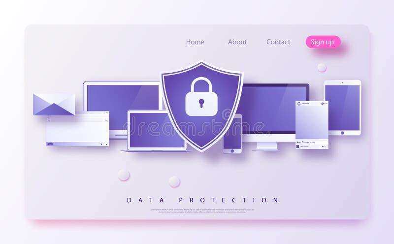 Η έννοια είναι πρόσβαση ασφαλείας δεδομένων, αυτό ασφάλεια Η ασπίδα στον υπολογιστή γραφείου υπολογιστών ή το lap-top προστατεύει ελεύθερη απεικόνιση δικαιώματος