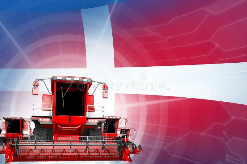Η έννοια εκσυγχρονισμού αγροτικών μηχανημάτων, κόκκινη σύγχρονη σίκαλη συνδυάζει τις θεριστικές μηχανές στη σημαία της Δανίας - ψ ελεύθερη απεικόνιση δικαιώματος