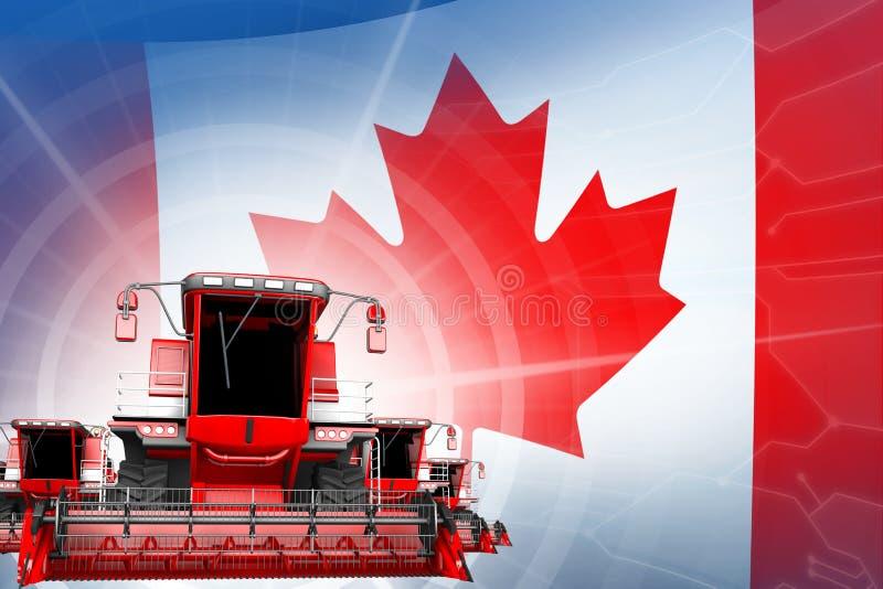 Η έννοια εκσυγχρονισμού αγροτικών μηχανημάτων, κόκκινο σύγχρονο αγρόκτημα συνδυάζει τις θεριστικές μηχανές στη σημαία του Καναδά  διανυσματική απεικόνιση