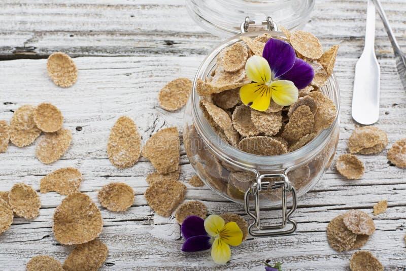 Η έννοια ενός υγιούς προγεύματος ολόκληρων των δημητριακών σίτου, των μούρων και των εδώδιμων λουλουδιών σε μια βιολέτα κήπων σε  στοκ εικόνες