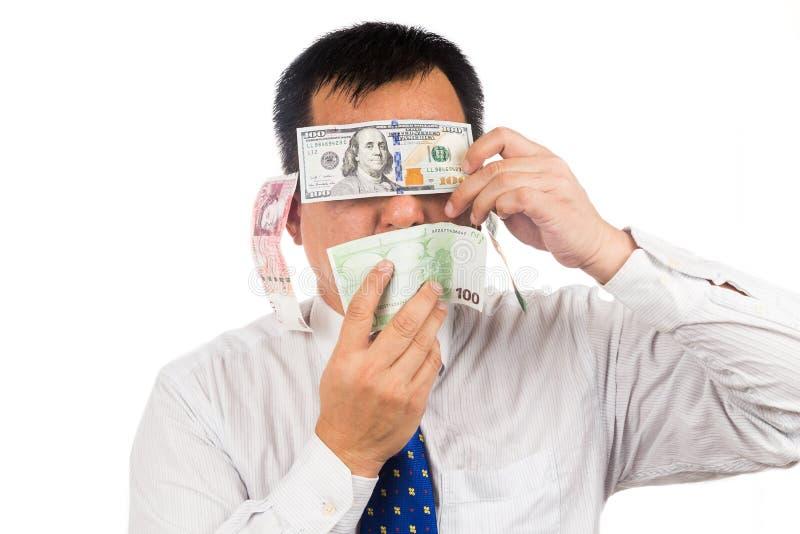 Η έννοια δεν βλέπει, μιλά, ακούει κανένα κακό με τα χρήματα στοκ φωτογραφία με δικαίωμα ελεύθερης χρήσης