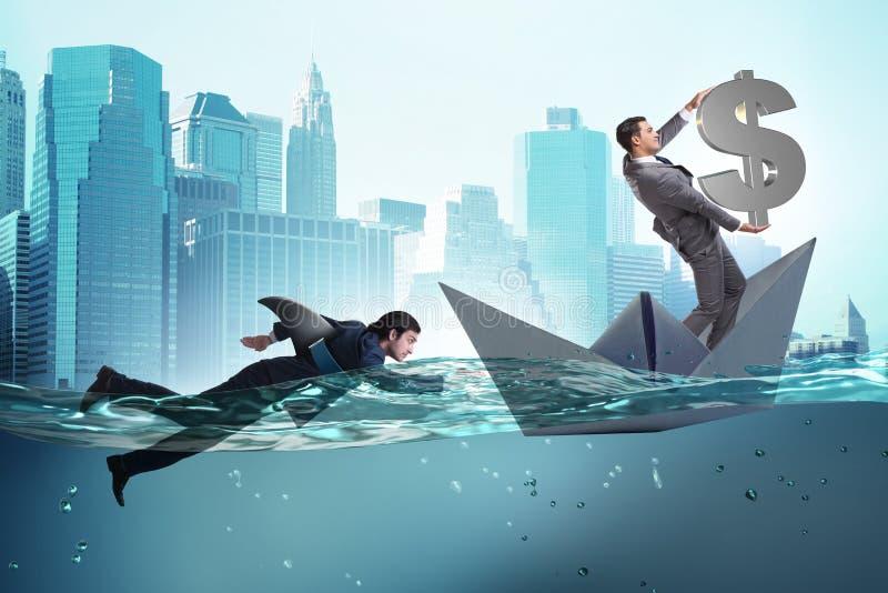 Η έννοια επιχειρηματιών σε ανταγωνισμό με τον καρχαρία διανυσματική απεικόνιση