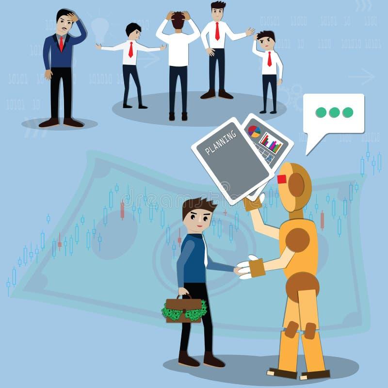 Η έννοια επιχειρησιακής χρηματοδότησης, επιχειρηματίας χρησιμοποιούσε το ρομπότ για τη διαχείριση πλούτου - διάνυσμα απεικόνιση αποθεμάτων