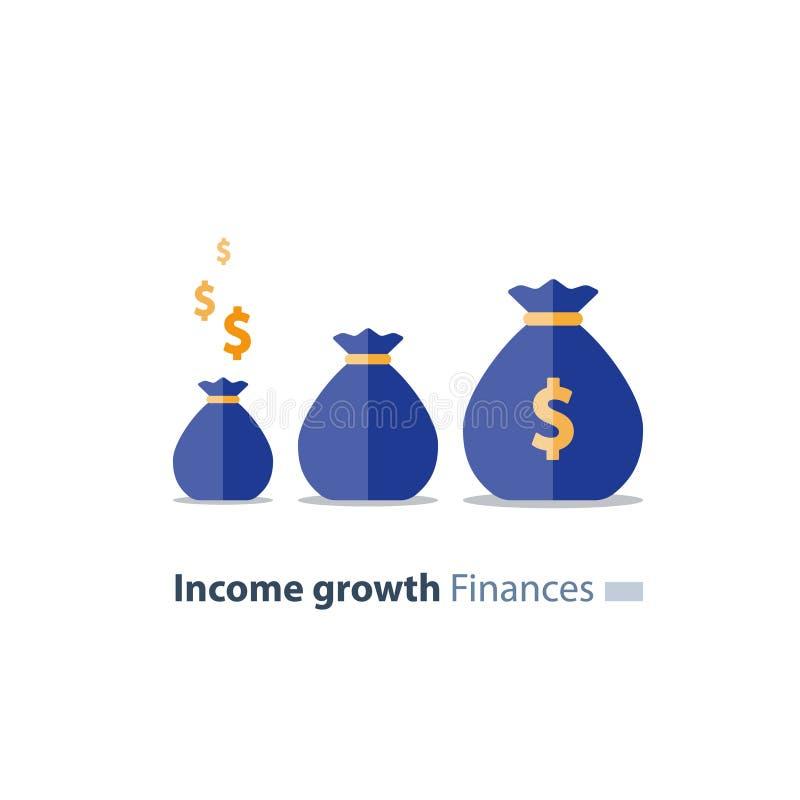 Η έννοια ερανικού, μελλοντική επένδυση, χρόνος είναι χρήματα, ποσό σύνταξης, χρηματοδότηση συνταξιοδότησης, τσάντες χρημάτων, δια απεικόνιση αποθεμάτων
