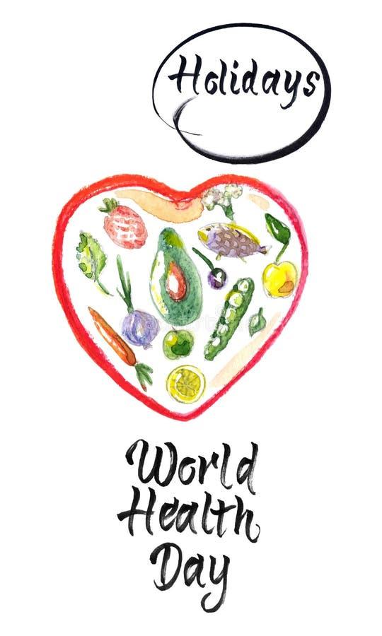 Η έννοια ημέρας παγκόσμιας υγείας με την καρδιά και και τα υγιή τρόφιμα, χέρι σύρει την εγγραφή και την υγιή απεικόνιση watercolo απεικόνιση αποθεμάτων