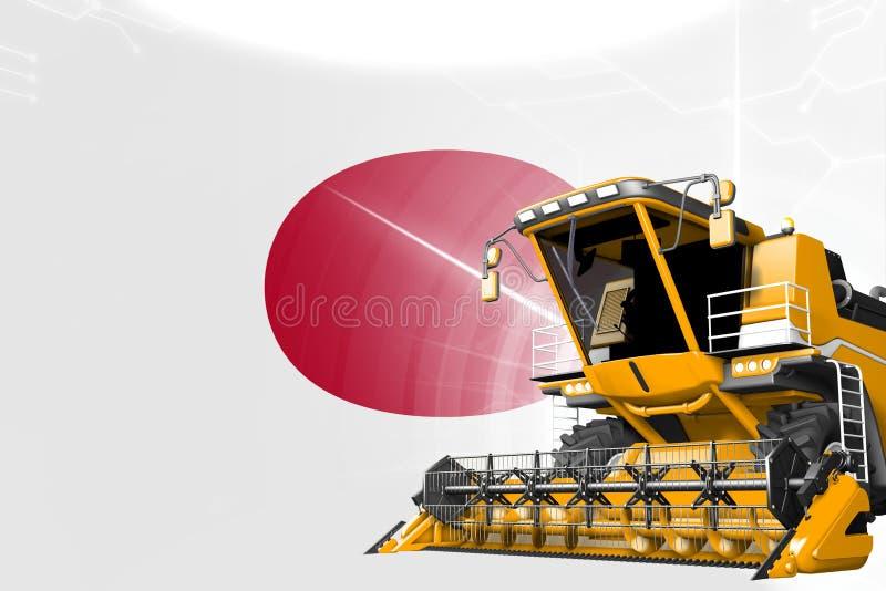Η έννοια καινοτομίας γεωργίας, κίτρινο προηγμένο σιτάρι συνδυάζει τη θεριστική μηχανή στη σημαία της Ιαπωνίας - ψηφιακή βιομηχανι απεικόνιση αποθεμάτων