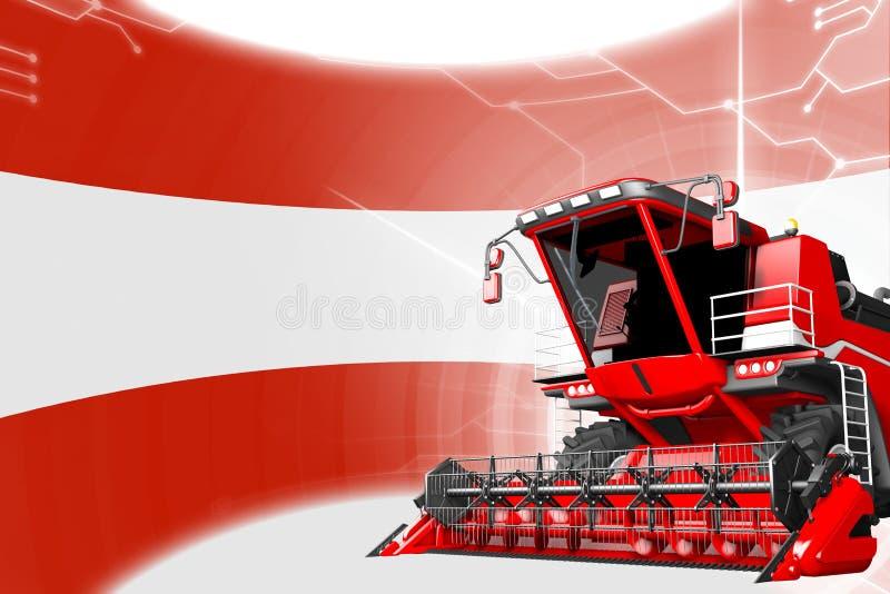 Η έννοια καινοτομίας γεωργίας, κόκκινο προηγμένο σιτάρι συνδυάζει τη θεριστική μηχανή στη σημαία της Αυστρίας - ψηφιακή βιομηχανι απεικόνιση αποθεμάτων