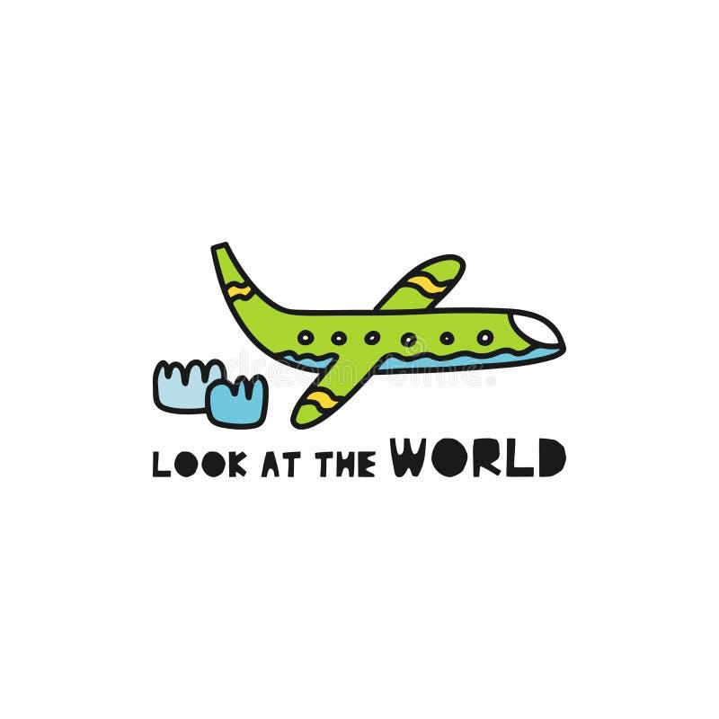 """Η έννοια καρτών ταξιδιού με το αεροπλάνο και το κείμενο """"εξετάζουν ύφος Doodle των κόσμων """" απεικόνιση αποθεμάτων"""