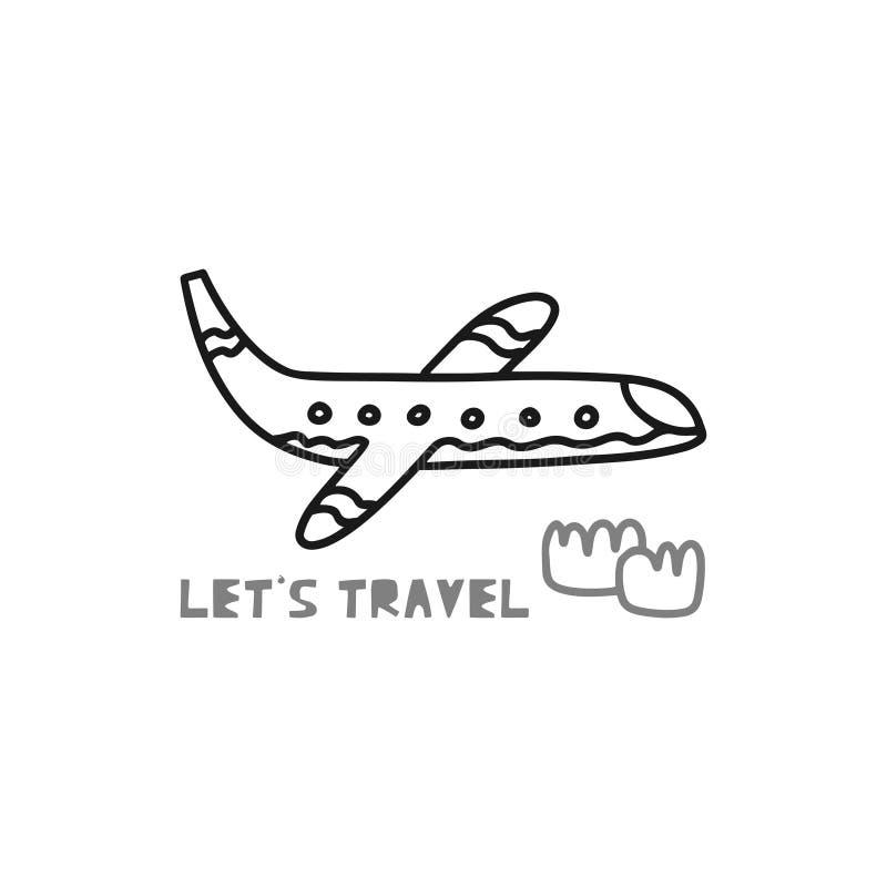 """Η έννοια καρτών ταξιδιού με το αεροπλάνο και το κείμενο """"ταξιδεψτε """"το ύφος Doodle διανυσματική απεικόνιση"""