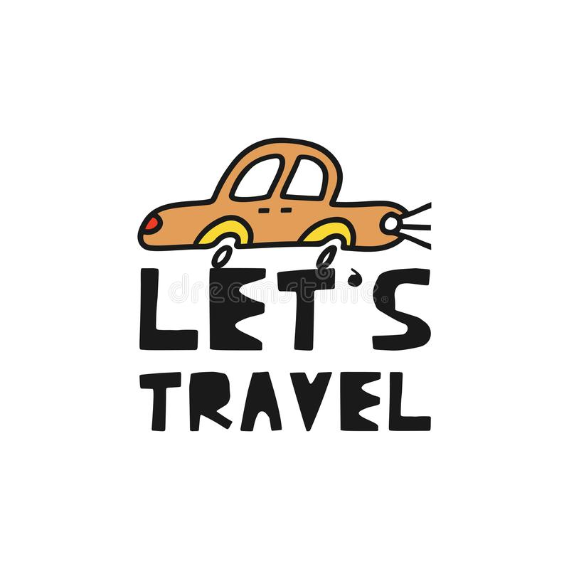 """Η έννοια καρτών ταξιδιού με το αυτοκίνητο και το κείμενο """"ταξιδεψτε """"το ύφος Doodle διανυσματική απεικόνιση"""
