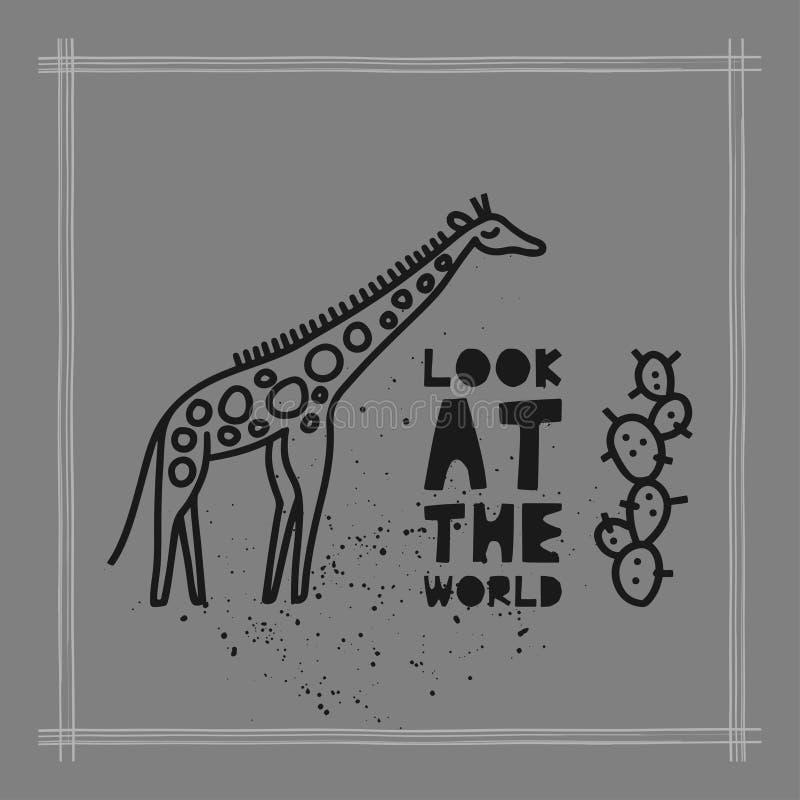 """Η έννοια καρτών ταξιδιού με giraffe και το κείμενο """"εξετάζουν ύφος Doodle των κόσμων """" ελεύθερη απεικόνιση δικαιώματος"""