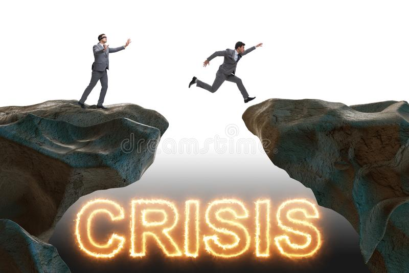 Η έννοια κρίσης με τον επιχειρηματία στην επιχειρησιακή έννοια ελεύθερη απεικόνιση δικαιώματος