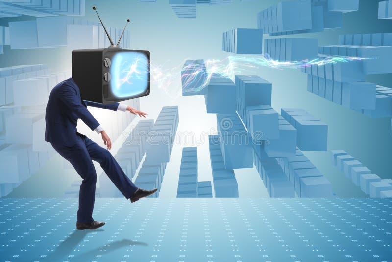 Η έννοια μέσων zombie με το άτομο και συσκευή τηλεόρασης αντί του κεφαλιού διανυσματική απεικόνιση