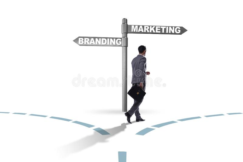 Η έννοια μαρκαρίσματος και μάρκετινγκ με τον επιχειρηματία στοκ φωτογραφία