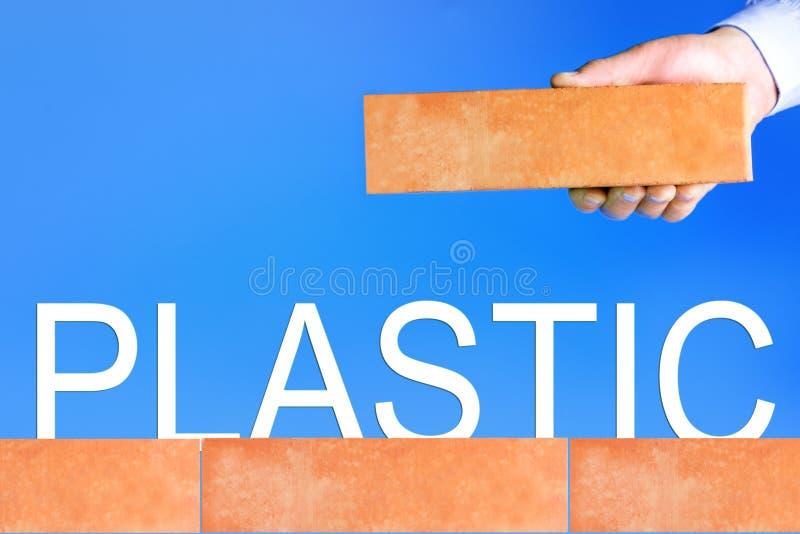 Η έννοια μηών αποβλήτων Πλαστικό απαγόρευσης στοκ εικόνα