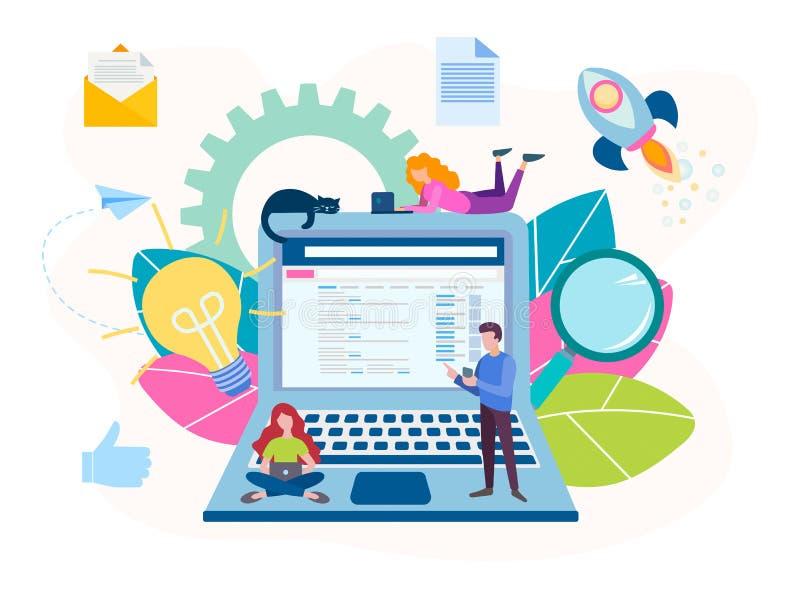 Η έννοια να εργαστεί on-line σε μια ομάδα με τη βοήθεια των σύγχρονων τεχνολογιών, που παράγει τις ιδέες απεικόνιση αποθεμάτων