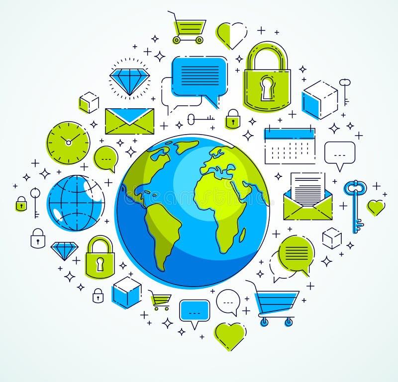 Η έννοια παγκόσμιων επικοινωνιών, πλανήτης Γη με τα διαφορετικά εικονίδια έθεσε, δραστηριότητα Διαδικτύου, μεγάλα στοιχεία, σύνδε ελεύθερη απεικόνιση δικαιώματος