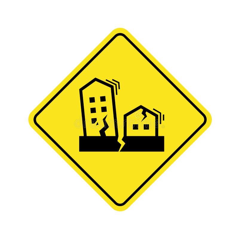 Η έννοια συμβόλων σεισμού με τα σπίτια και τα κτήρια ραγίζουν και δονούνται στο κίτρινο διανυσματικό σχέδιο σημαδιών εμβλημάτων π απεικόνιση αποθεμάτων
