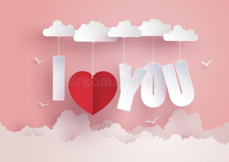 Η έννοια της αγάπης και της ημέρας βαλεντίνων, μήνυμα κρεμά στον ουρανό διανυσματική απεικόνιση