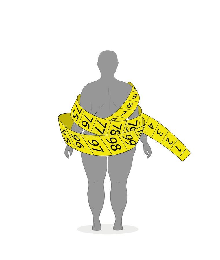 Η έννοια της απώλειας διατροφής και βάρους σκιαγραφία μιας γυναίκας με το υπερβολικό βάρος σε ένα κίτρινο μέτρο ταινιών επίσης co διανυσματική απεικόνιση