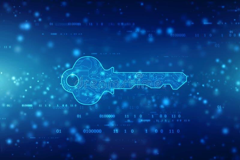 Η έννοια της ασφάλειας cyber ή του ιδιωτικού κλειδιού, αφαιρεί το ψηφιακό κλειδί στο υπόβαθρο τεχνολογίας, υπόβαθρο έννοιας ασφάλ στοκ εικόνα με δικαίωμα ελεύθερης χρήσης