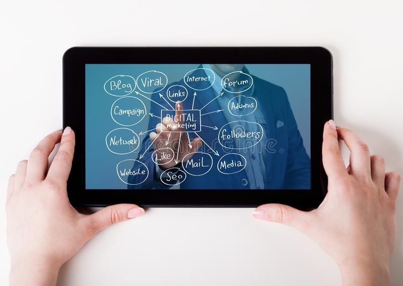 Η έννοια της επιχείρησης, της τεχνολογίας, του Διαδικτύου και του δικτύου Ένας νέος επιχειρηματίας που εργάζεται σε εικονική οθόν στοκ εικόνα με δικαίωμα ελεύθερης χρήσης