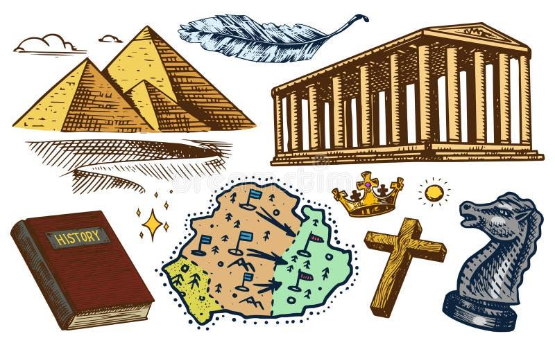 Η έννοια της ιστορίας στη γη Εκπαίδευση, θρησκεία και παλαιά αρχαία σύμβολα Αιγυπτιακές πυραμίδες και αρχαίο κτήριο ελεύθερη απεικόνιση δικαιώματος